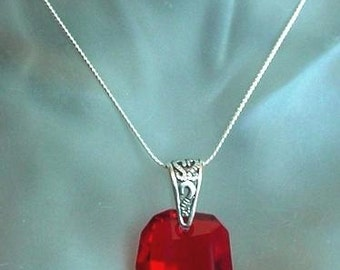 Red Hot Swarovski's Crystal Pendant c/w Sterling Silver Bail - Chain is Not Included