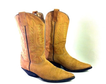 Womens Leather Cowboy Boots 10 - Tan Leather Western Riding Boots 10