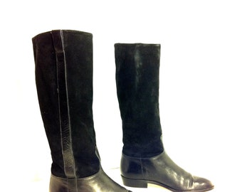 Tall Leather Riding Boots 6.5 - English Riding Boots 6.5 - Knee High Italian Boots