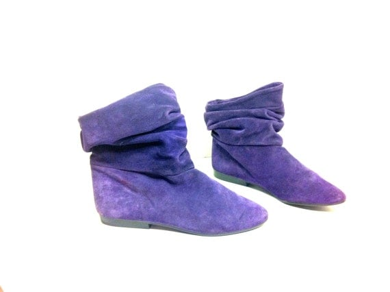 Slouchy Leather Boots 8 - Purple Boots 8 - Purple Leather Flat Boots 8