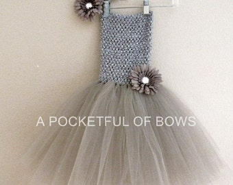 Silver Tutu Dress, Toddler Tutu Dress, Gray Birthday Tutu Dress