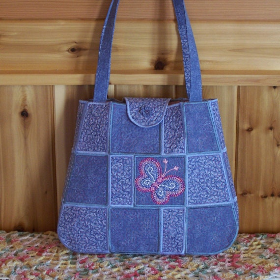 JUST REDUCED  Blue Butterfly Puzzle Piece Stippled Embroidered Purse/Tote
