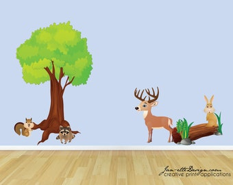 Large Wall Decals,Forest Animal Fabric Wall Decals, Forest Theme Removable and Repositionable Fabric Wall Clings