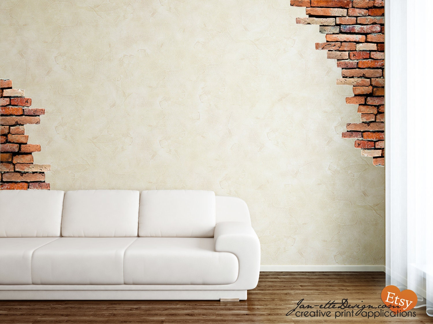 Wall decalbrick wall fabric wall decalsbrick wall stickers for Brick wall decal mural