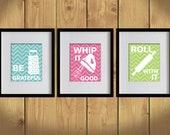 Kitchen Art Print - Chevron, Baking Utensils, Zigzag Stripes - Set of 3 - 8X10 - White, Bondi Blue, Hot Pink, Apple Green - No. KB008-2