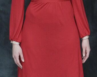 Long Sleeve Red Dress, Jersey Midi Dress, Long Sleeve Midi Dress, Jersey Dress, Red Party Dress, Red Midi Dress, Sheath Dress, OOAK dress