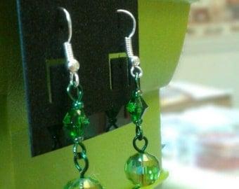 Beaded Absinthe Green Dangle Earrings