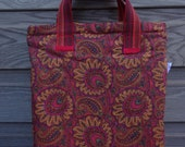 One of a kind bright orange and red tote bag, zip up orange day bag, orange shopping bag, zip up orange lined bag, stunning orange lining