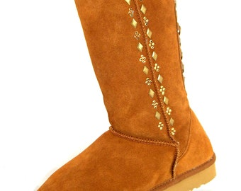 Custom Gold Silver line Boots Classic Tall UGG Australia or Suede Fleece Wool Piper Fusion w/ Swarovski Crystal Metal Winter ladies gift