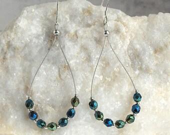 Sparkle Green Teardrop Numerology Dangle Earrings, Czech Fire Polished Beads, Sterling Silver Earwires - Spirit of Seven Numerology Earrings