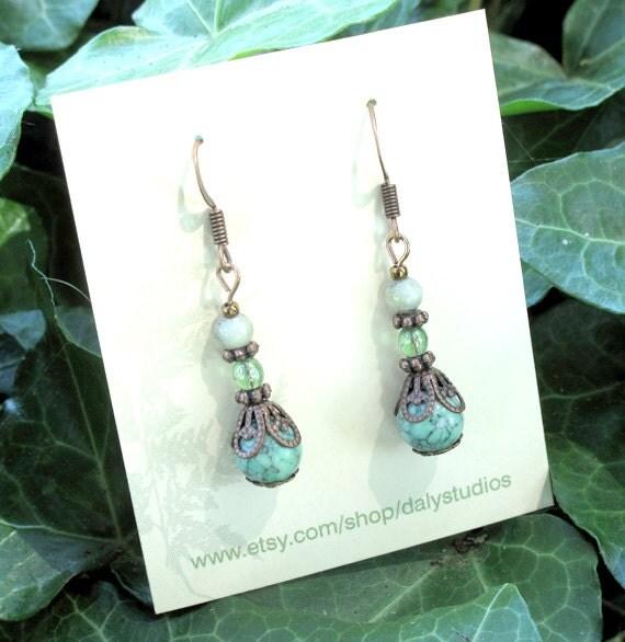 SALE dangle earrings - beaded pale green howlite stone, copper