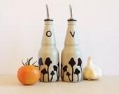 Olive Oil Dispenser, Vinegar Cruet, Cottage Decor, Mushrooms