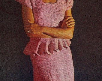 A BEST Vintage 1948 Two Piece Dinner Dress with Petalled Peplum 808 PDF Digital Knit Pattern