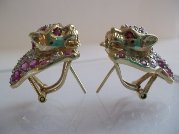 Vintage 14kt Gold & Ruby Earrings/ CARTIER STYLE Panther Ruby/ Yellow/ White and Yellow 14kt Earrings/ Inspired Exquisite Panther Design