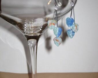 Striated Art Glass Aqua Blue Cascading Falling Leaves Droplet Dangle Stick Earrings