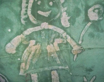 Vintage Fabric Batik Smiling Girl 1960's OOAK