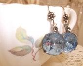 Vintage Marie Antoinette French Bleu' Crystal Earrings, Romantic, Parisienne, Antique Brass, Weddings,