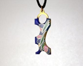 Enamel Pendant (Vitreous enamel jewelry) cloisonne, stylized flower and leaf, floral pattern