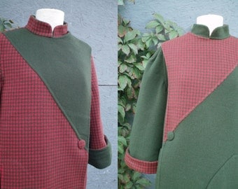 60's Reversible Wool Coat Houndstooth