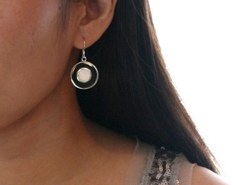 Modern and Elegant Black Stone and White Oyster shell round shape in Sterling Silver setting. Simple Classy Black and White earrings.