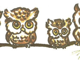 "6 Owls Watercolor 3"" x 12"" print by artist Lois Mae Thayer (1915-2008)  UNFRAMED"