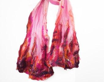 Pink Felted Nunofelt Scarf Rose Fashion Wrap art Scarves Light Felt Nunofelt Nuno felt Silk wearable art Eco Boho Fiber Art