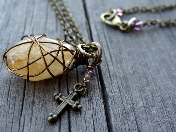 Bronze Yellow Golden Sunshine Citrine Wire Wrapped Pendant with Crystal bead and Cross accents Necklace Christian Religious Brass