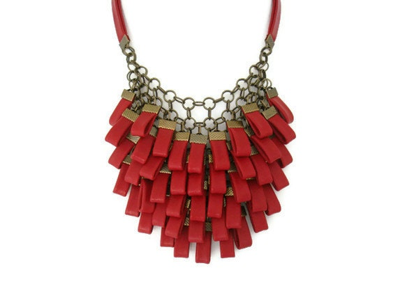 Red Leather Cluster Statement Necklace Leather Jewellery Leather Necklace Costume Jewellery Evening Jewellery Gift for Her