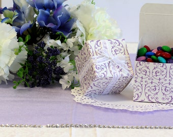 50x Purple Ivory Wedding Favor Cube Boxes-Bridal Shower-Baby Shower-Party Favor-Candy Gift Box-2x2x2