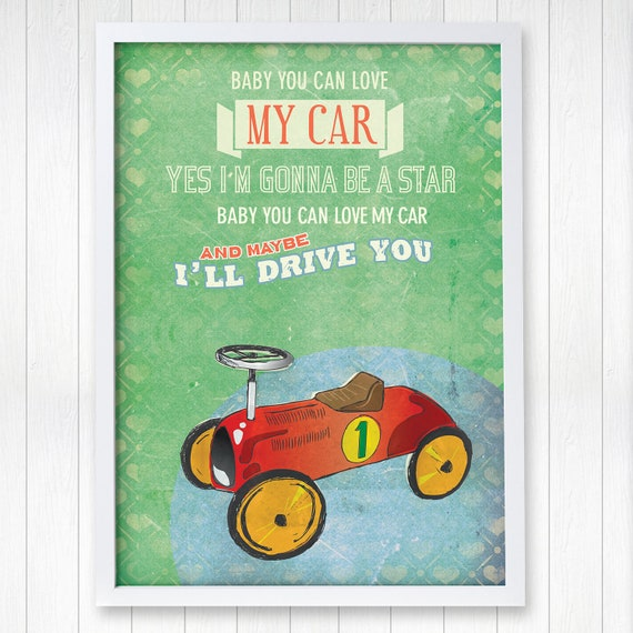 Car Nursery Wall Decor : The beatles toy car nursery decor children art wall