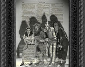 Dictionary Art Print, Wizard of Oz Print, Halloween Decor, Dorothy, Cowardly Lion, Tin Man, Scarecrow