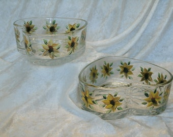 SUNFLOWER CANDY DISHES, heart shaped, set of two