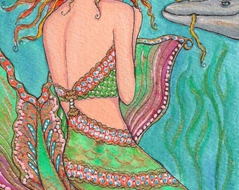"Lovely Mermaid Fantasy Playful Dolphin Fish Friend Rose Flower 6""x4"" ART PRINT of original painting by K.McCants"