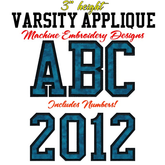 Varsity letters applique machine embroidery by ediesdesigns