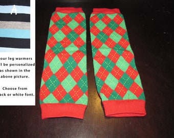 RED CHRISTMAS ARGYLE baby leg warmers.  Great for babies, toddlers, and young kids
