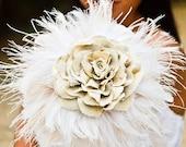 Feather Wedding Bouquet - White/Ivory bouquet, Nature Inspired bouquet, Fabric bouquet, home decor, bridal party ideas