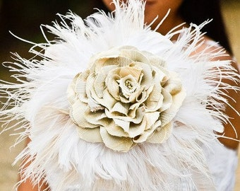 Feather Wedding Bouquet - White/Ivory bouquet, Nature Inspired bouquet, Fabric bouquet, home decor, bridal party ideas