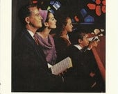 Thanksgiving Day  Insured Savings and Loan Associations Original 1963 Vintage Print Ad Photo Family Church Worship Hymnal Stained Glass