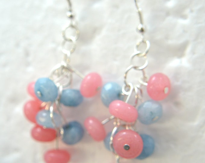 "Natural Cluster of Pink Morganite and Blue Aquamarine Earrings, Sterling Silver French Hooks, 2"" Long E86"