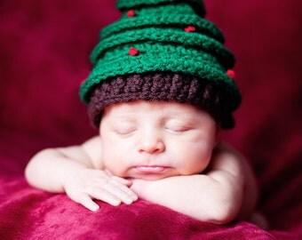 Christmas Tree Hat, Newborn Crochet Photography Prop