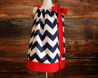 4th of July Navy Chevron Dress - Newborn to Child 11/12 girls pillowcase dress baby infant toddler USA Fourth of July 4th red blue