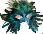 Handmade Custom Peacock Mask / On Sale / Feather Mask / Masquerade Mardi Gras - OohRILEYhoO