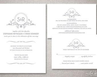 "Monogram ""Stephanie"" Wedding Invitations Suite - Beautiful Floral Modern Invite - Personalized DIY Digital Printable or Printed Invitation"