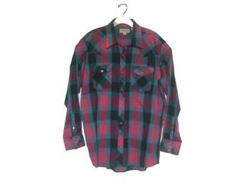 men's vintage western plaid shirt large