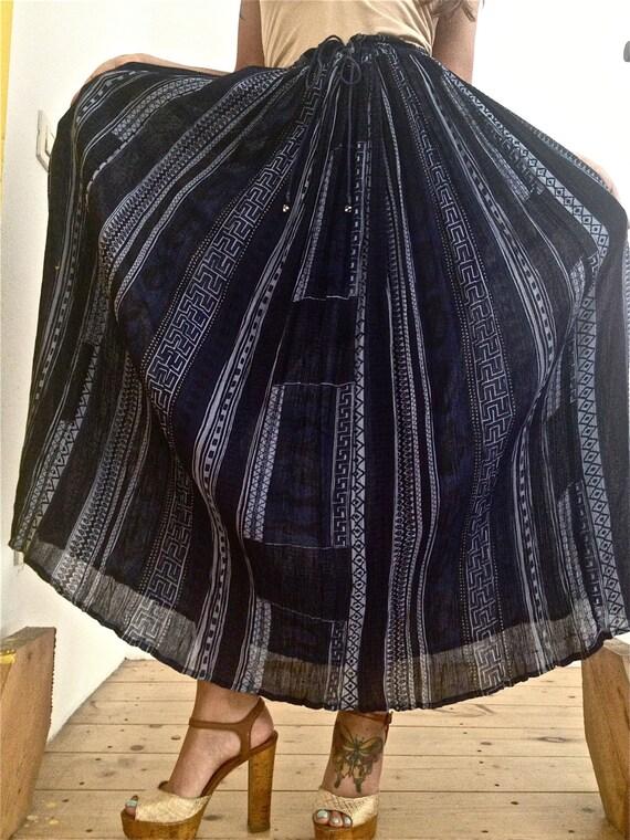 vintage pattern pleated maxi skirt midi s m l by