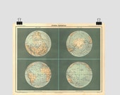 World Map Print,  Eastern and Western Hemispheres, Arctic and Antarctica, World Globe