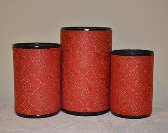 Handmade Pencil Holder Set, Maroon silk,Gifts for all,Gifts for any occasion,Gifts under 15, Desk Accesories, Pencil cups, Home Decor