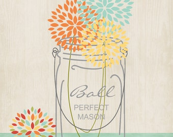 Custom Graphic Art Print, Wall Art, Collage Art, Country, Cottage, Shabby Chic Style. Mason Jars with flowers.