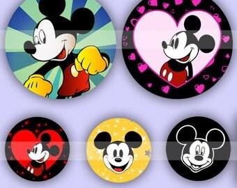 Mickey Mouse (023) Digital Collage Sheet 4x6 bottle cap images .. Bottlecap glass tiles ..