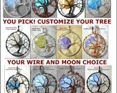 CUSTOM Tree of Life Pendant Full Moon YOUR CHOICE Made to Order Tree of Knowledge Jewelry Celestial Wire Wrapped Lunar Tree Necklace